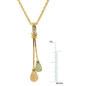 Genuine Peridot, Citrine & Diamond Necklace