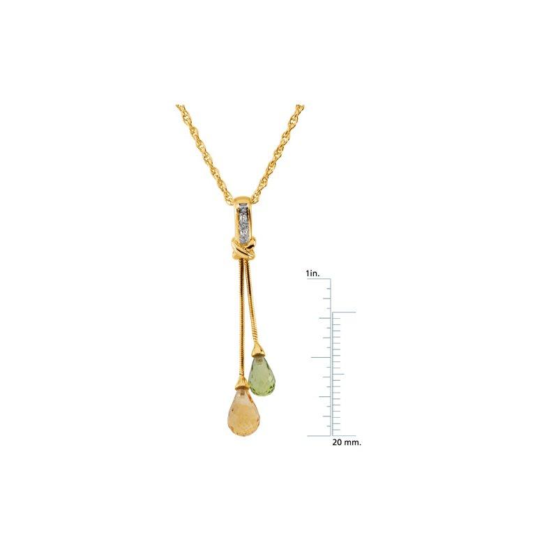 Ladies' Jewelry Genuine Peridot, Citrine & Diamond Necklace