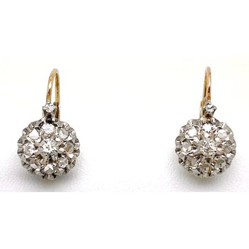 Lady's Victorian design diamond and two-tone gold earrings with lever backs