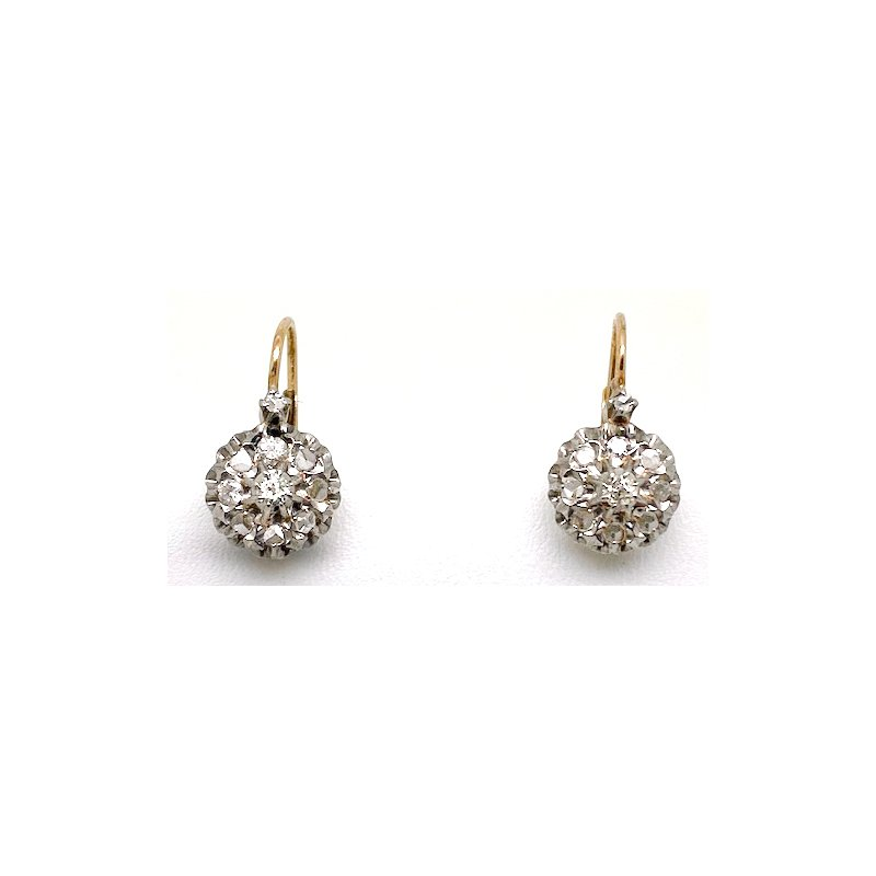 Estate & Vintage Lady's Victorian design diamond and two-tone gold earrings with lever backs