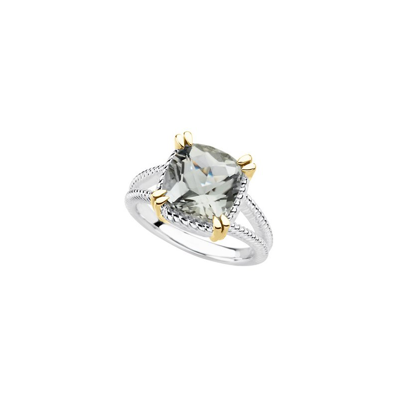 Holiday Ideas Sterling Silver & 14kt yellow Green Quartz Ring