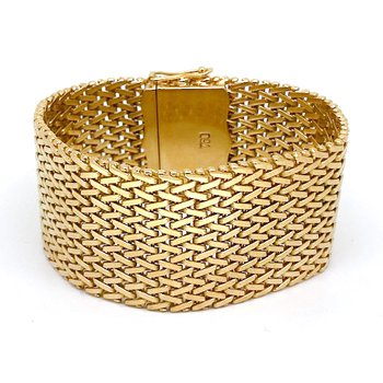 Vintage yellow gold, wide mesh, bracelet