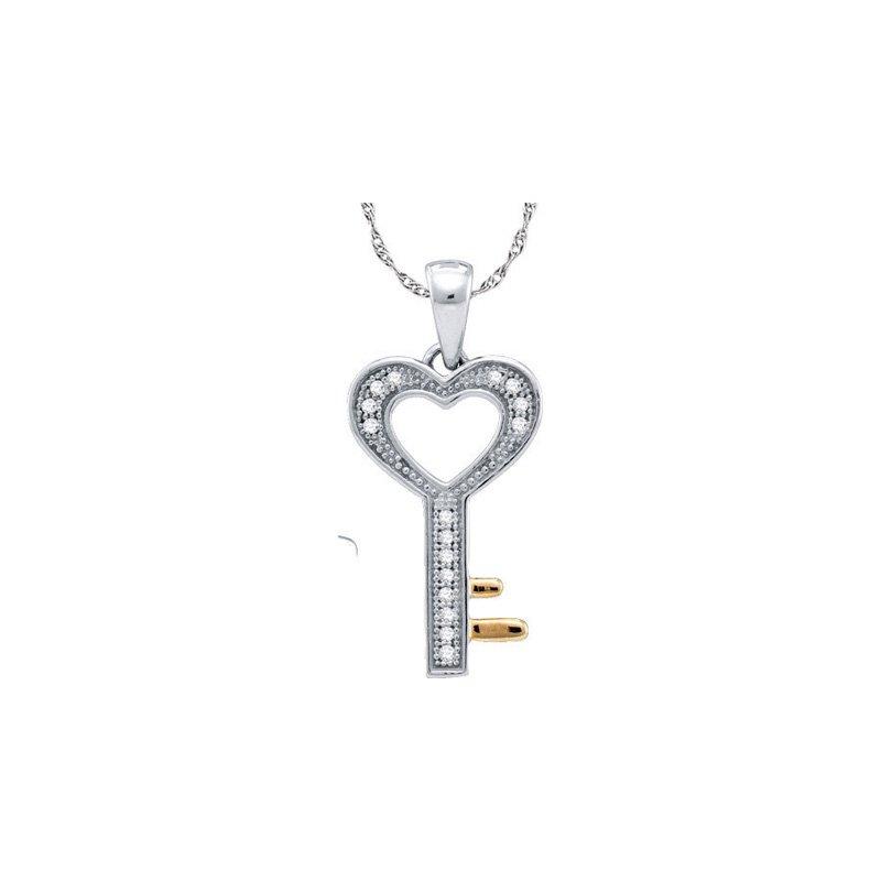 Valentine Gift Ideas Diamond Heart Key Pendant