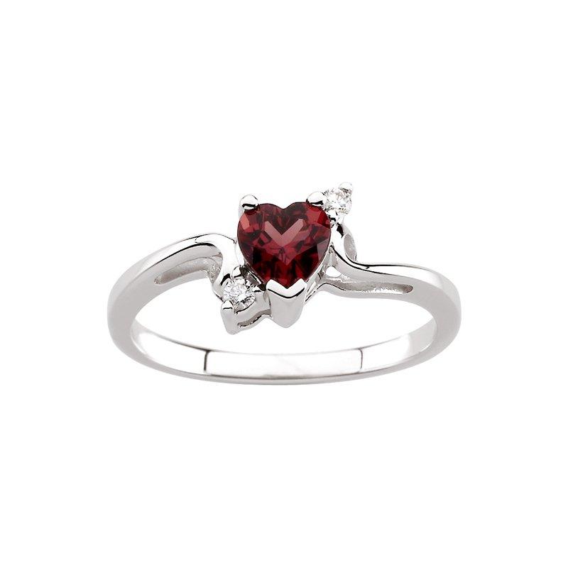 Ladies' Jewelry Genuine Heart-Shape Rhodolite Garnet & Diamond Ring