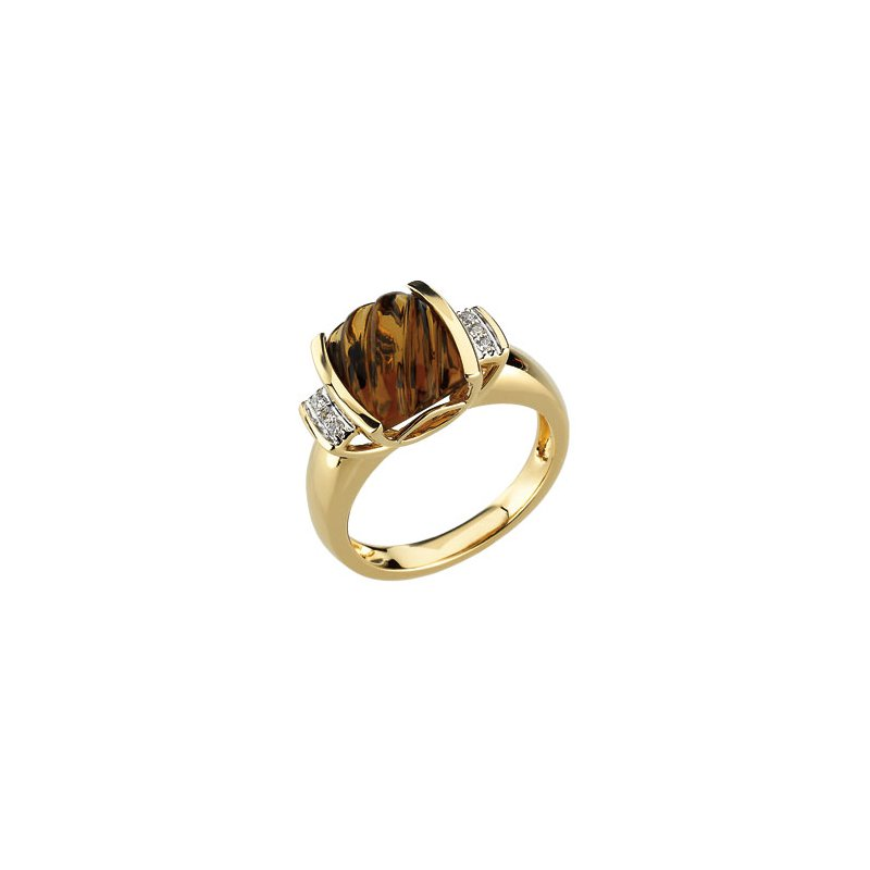 Ladies' Jewelry Genuine Carved Honey Quartz & Diamond Ring