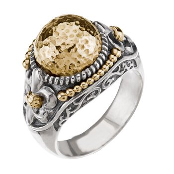 Two Tone Fleur-de-lis Ring