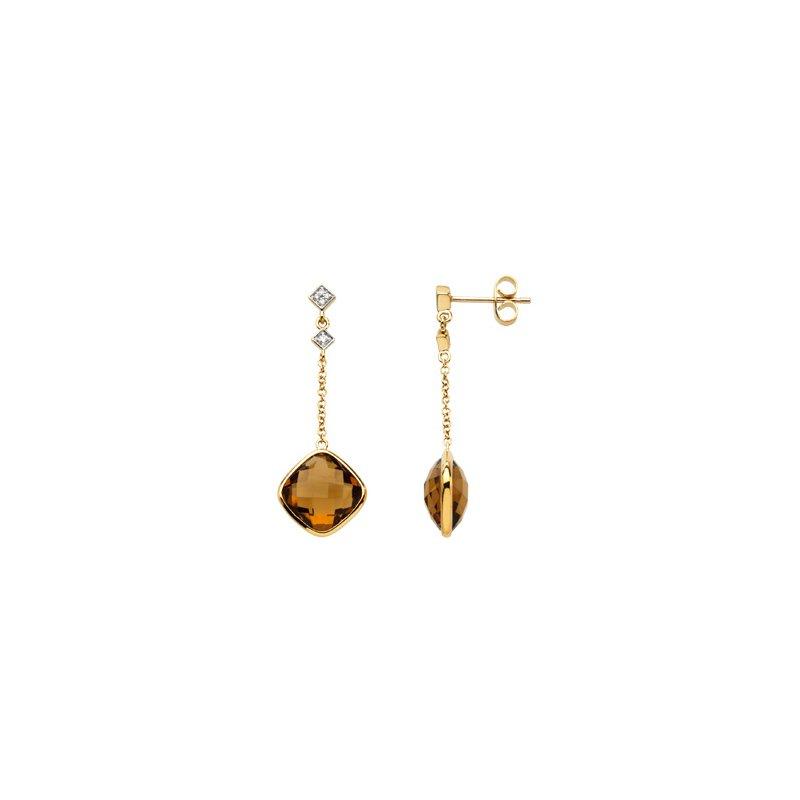 Ladies' Jewelry Genuine Checkerboard Cinnamon Quartz & Diamond Earrings