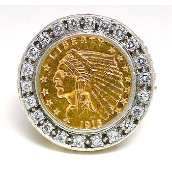 Gent's vintage diamond, Indian head coin, yellow and white gold ring