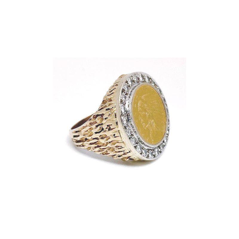 Estate & Vintage Gent's vintage diamond, Indian head coin, yellow and white gold ring