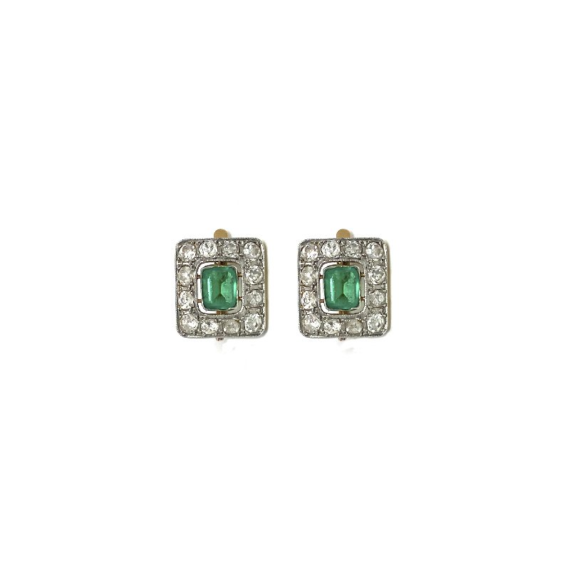 Estate & Vintage Lady's emerald, diamond and two-tone button earrings