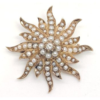 Lady's Victorian design, diamond, seed pearl, and yellow gold star pendant
