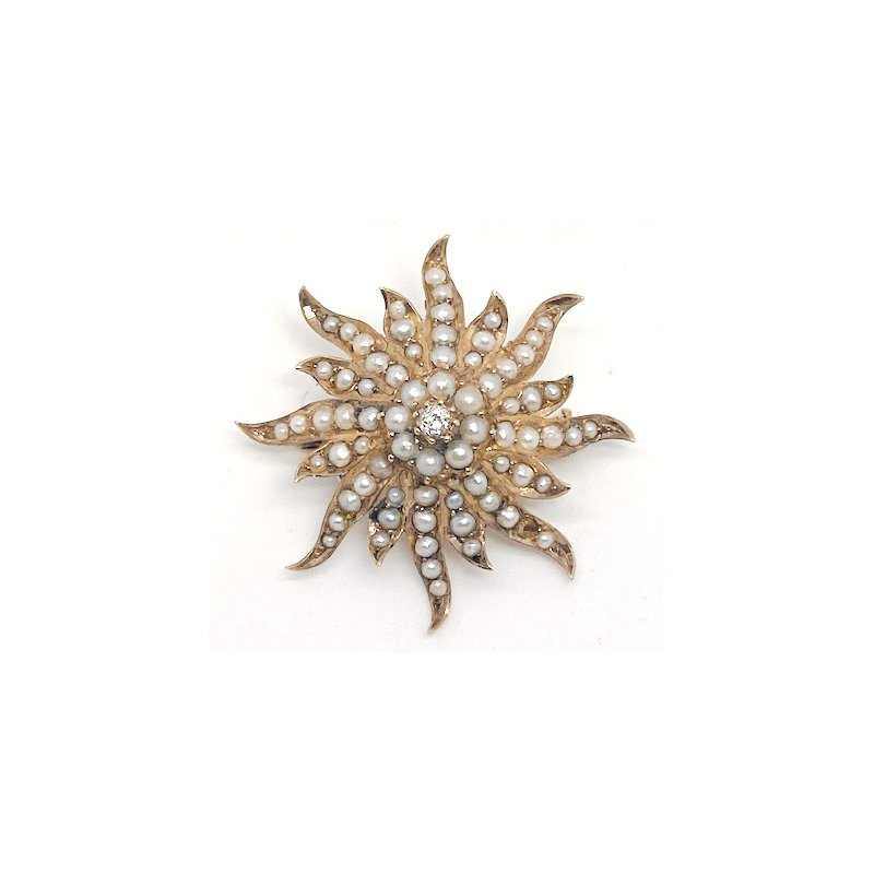 Estate & Vintage Lady's Victorian design, diamond, seed pearl, and yellow gold star pendant