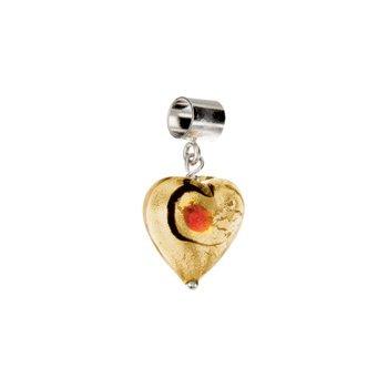 Kera Gold & Ruby Glass Heart Dangle