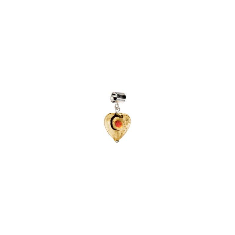 Holiday Ideas Kera Gold & Ruby Glass Heart Dangle