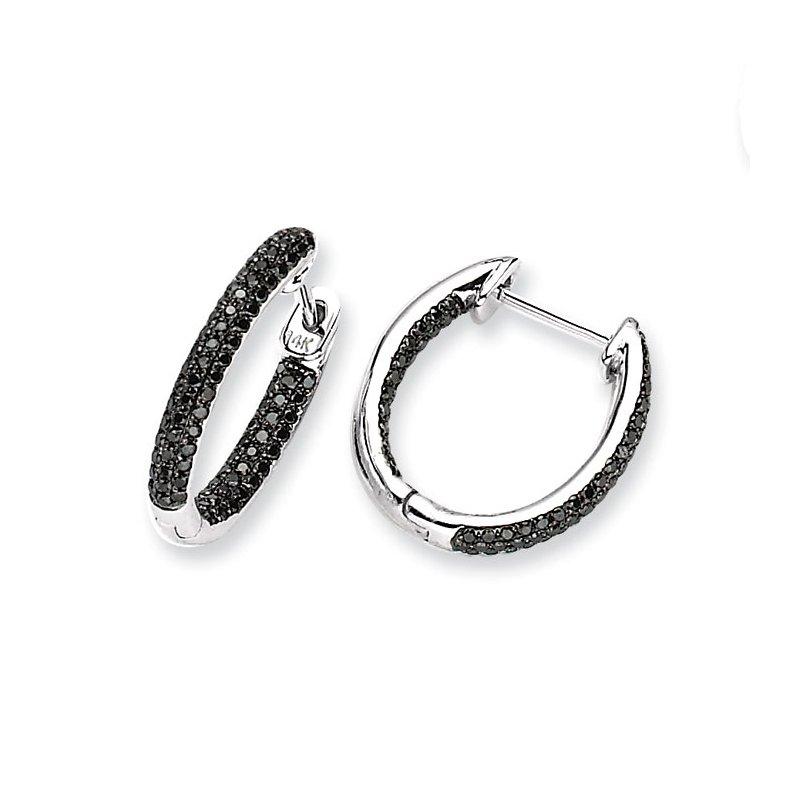 Susan Eisen 14k White Gold Black Diamond In-Out Hoop Earrings