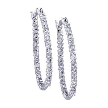 1 ct tw Diamond Inside-Outside Hoop Earrings