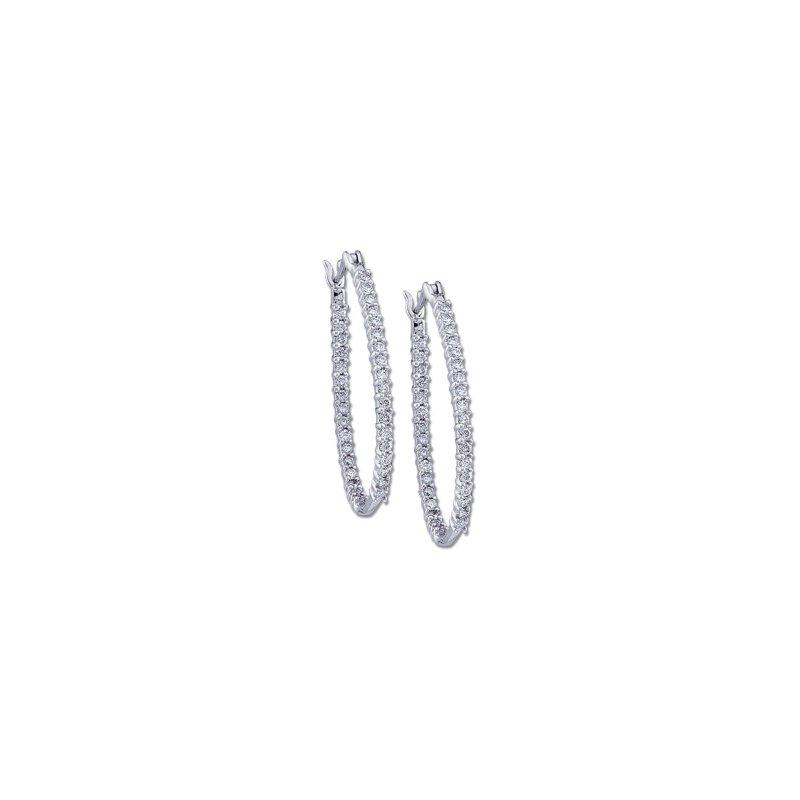 Ladies' Jewelry 1 ct tw Diamond Inside-Outside Hoop Earrings