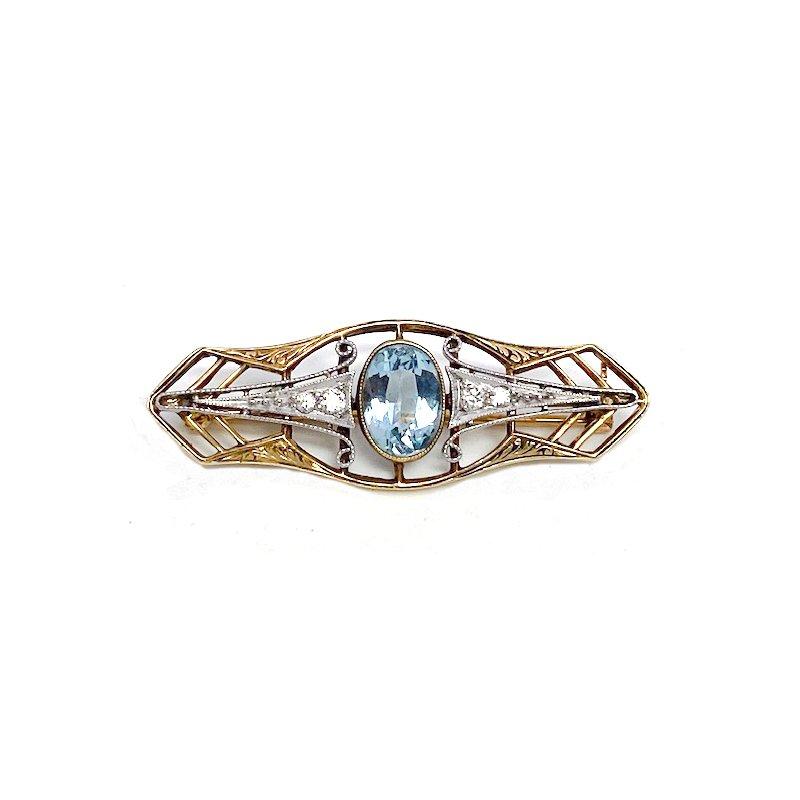 Estate & Vintage Lady's vintage Art Deco style aquamarine, diamond and two-toned bar pin