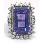 Estate & Vintage Lady's vintage amethyst, diamond and white gold ring