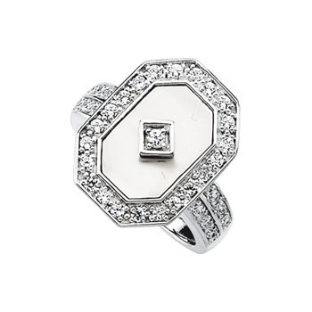 Genuine Mother of Pearl & Cubic Zirconia Ring