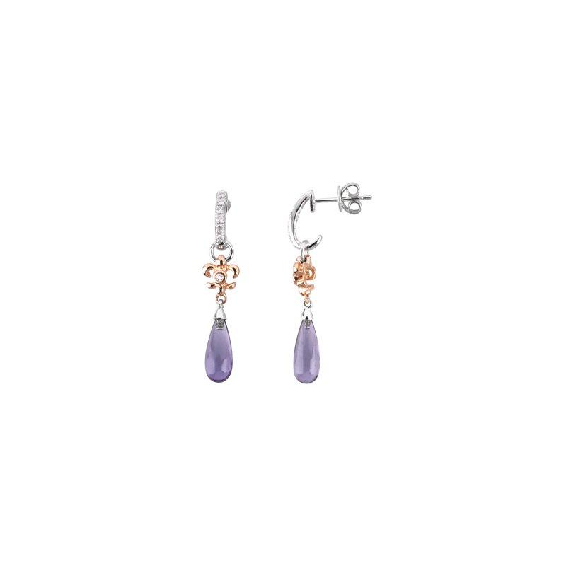 Ladies' Jewelry Genuine Amethyst Briolette & Diamond Fleur-de-Lis Earrings