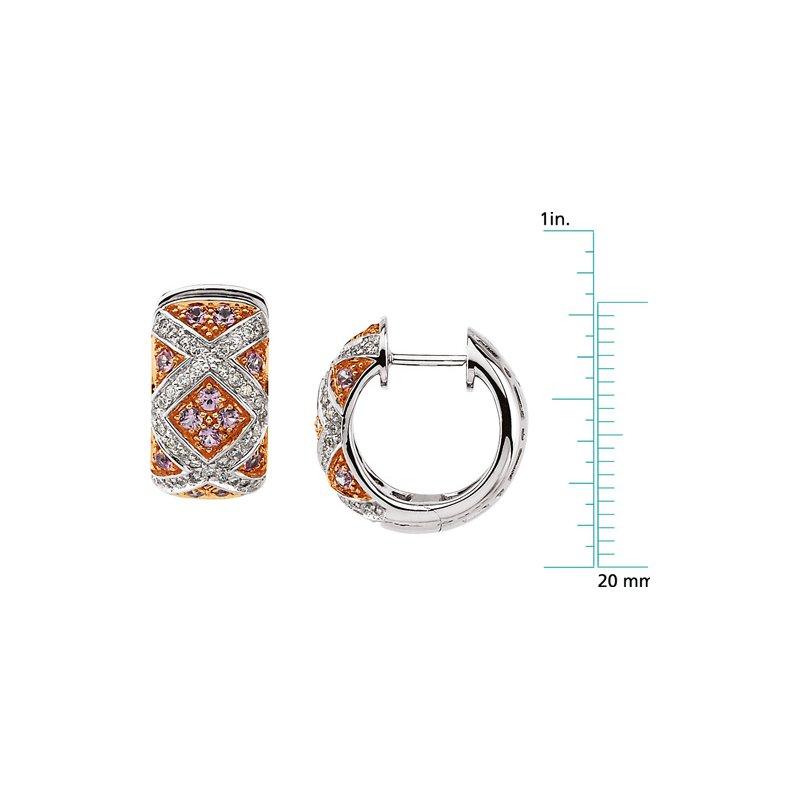 Ladies' Jewelry Genuine Pink Sapphire & Diamond Earrings