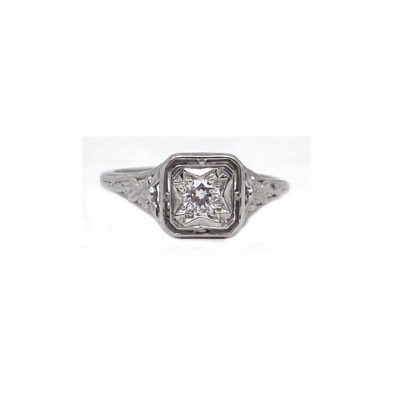 Vintage Bridal Diamond and White Gold, Art Deco Style Engagement Ring