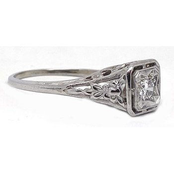 Diamond and White Gold, Art Deco Style Engagement Ring