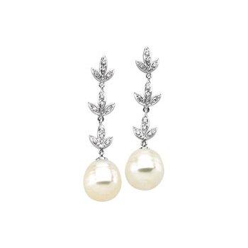 South Sea Cultured Pearl & Diamond Earrings