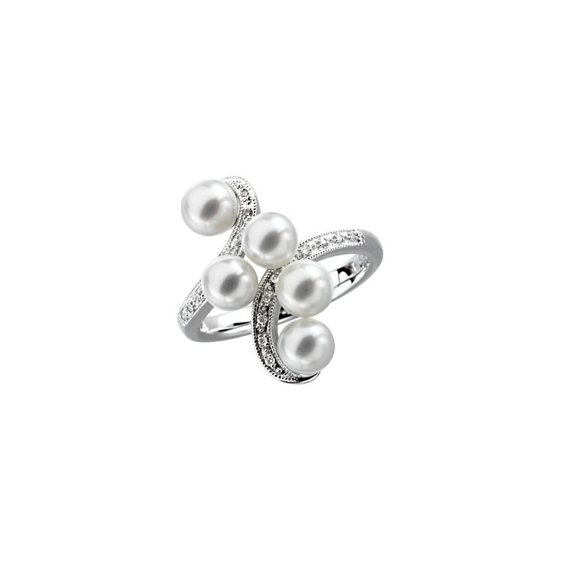 Ladies' Jewelry Freshwater Cultured Pearl & Diamond Ring