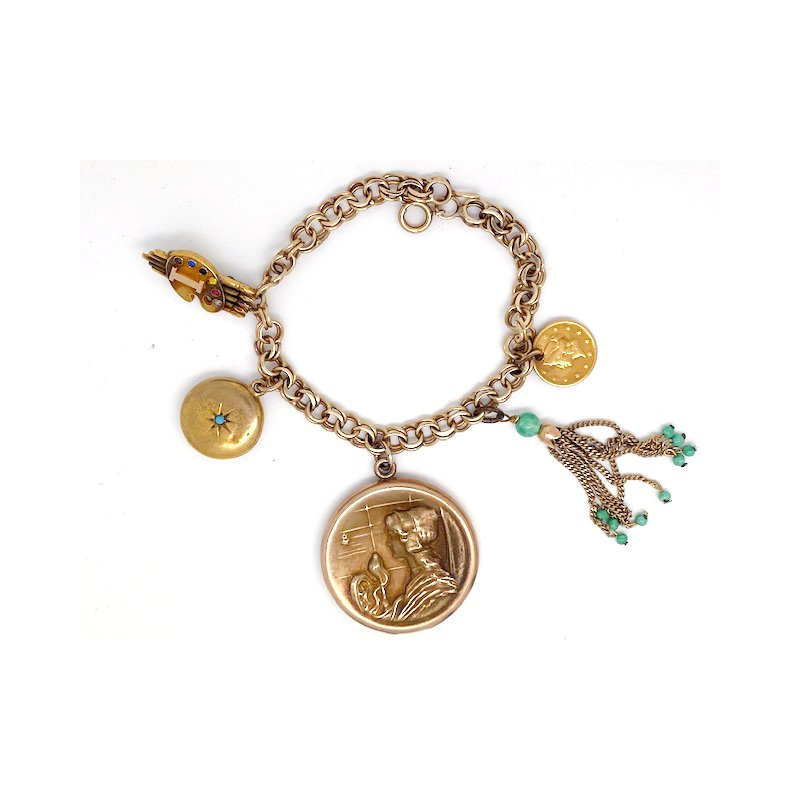Estate & Vintage Lady's vintage yellow gold charm bracelet