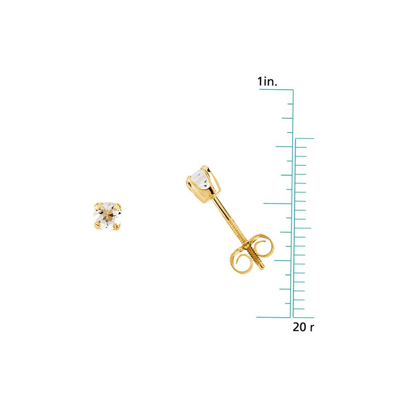 Birthstone Jewelry Children's Genuine White Topaz April Birthstone Earrings
