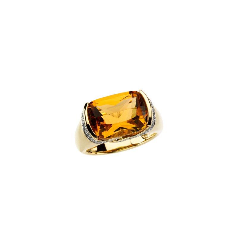 Ladies' Jewelry Genuine Citrine & Diamond Ring