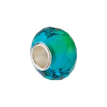 Kera Blue & Green Faceted Glass Bead