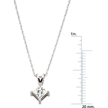 Princess-Cut Diamond Solitaire Necklace