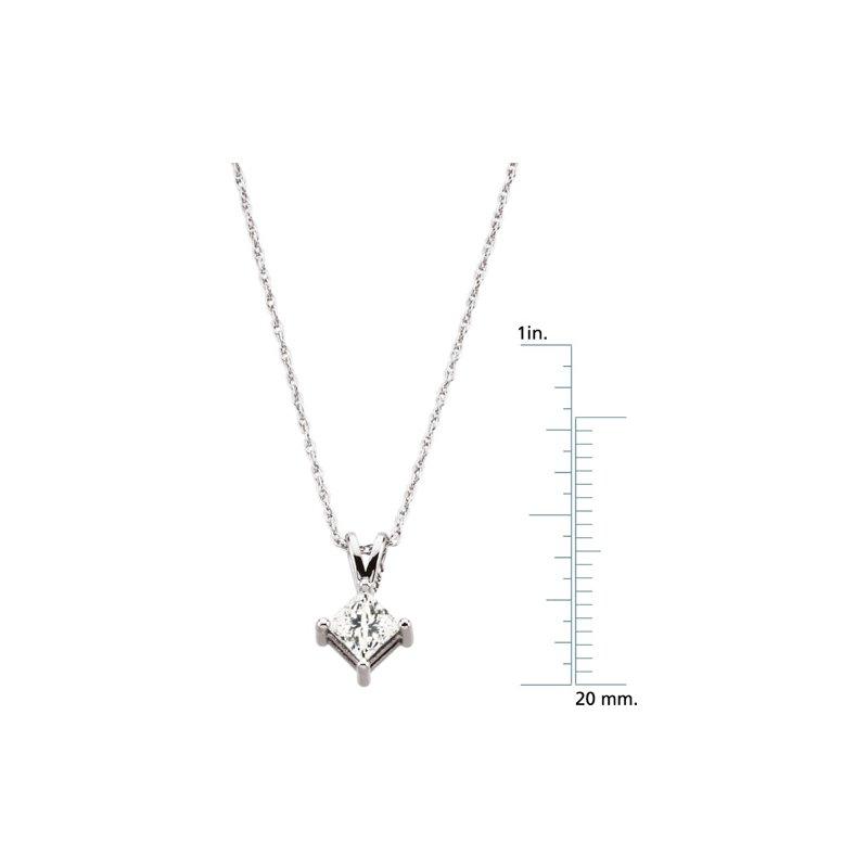 Ladies' Jewelry Princess-Cut Diamond Solitaire Necklace