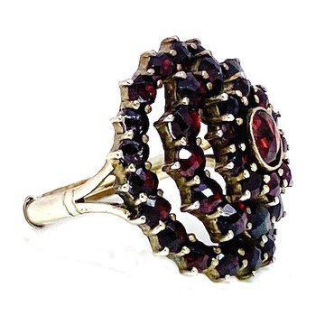 Lady's vintage garnet and silver tone cocktail ring