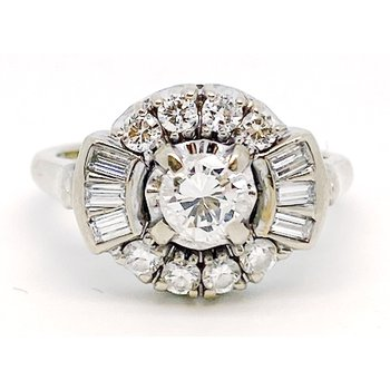 Vintage diamond and white gold ring