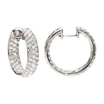 4 ct tw Diamond Inside/Outside Hoop Earrings