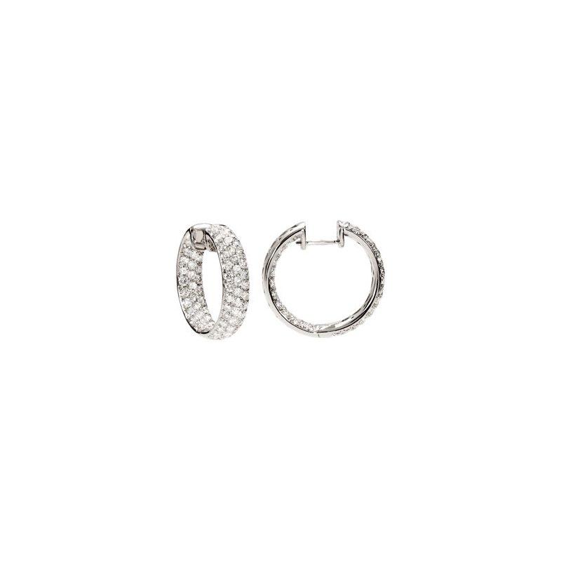 Holiday Ideas 4 ct tw Diamond Inside/Outside Hoop Earrings