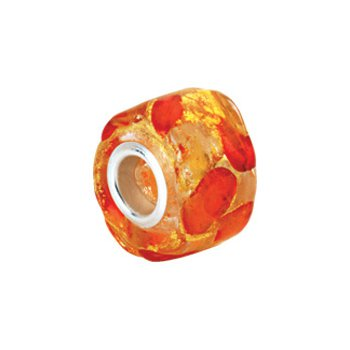 Kera Gold & Orange Murano Glass Wheel Bead