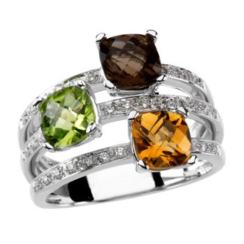 Multicolor Gemstone & Diamond Ring