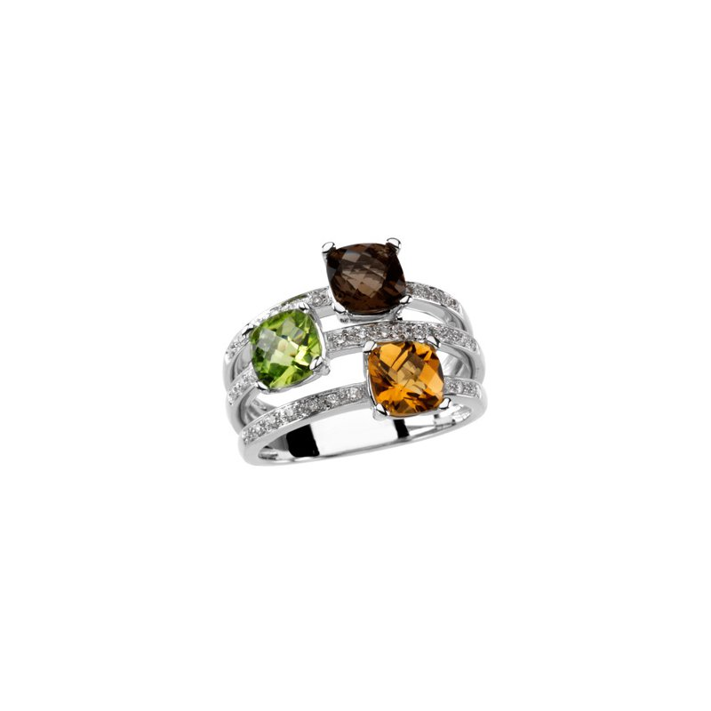 Holiday Ideas Multicolor Gemstone & Diamond Ring