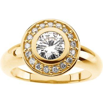 Moissanite & Diamond Engagement Ring