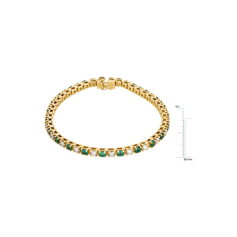 Ladies' Jewelry Genuine Emerald & Diamond Bracelet