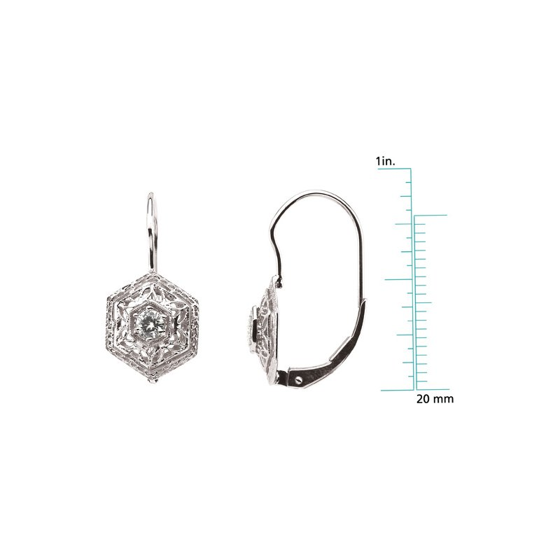 Ladies' Jewelry Moissanite Filigree Leverback Earrings