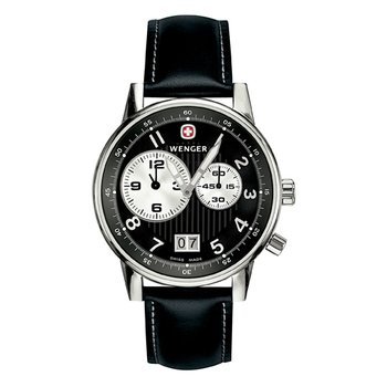 Wenger Mens Black Commando Dual Time 2 Eye Watch