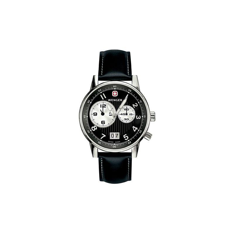 Eisen Watches Wenger Mens Black Commando Dual Time 2 Eye Watch