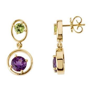 Genuine Peridot & Amethyst Earrings