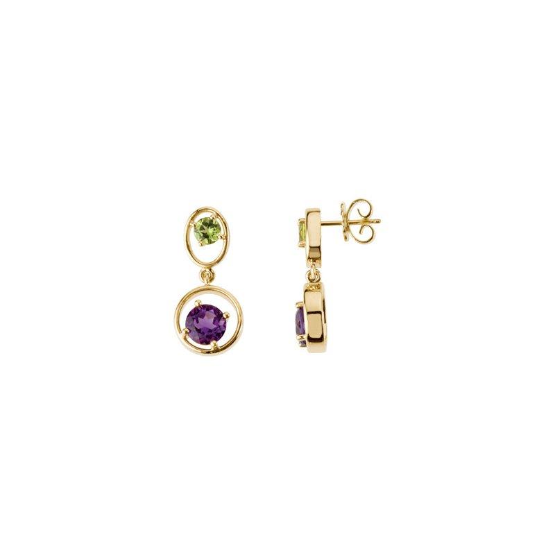 Holiday Ideas Genuine Peridot & Amethyst Earrings